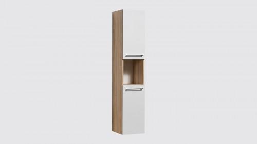 Meuble colonne suspendue de salle de bains Evoluti SCANDY blanc et chêne naturel hauteur 150 cm