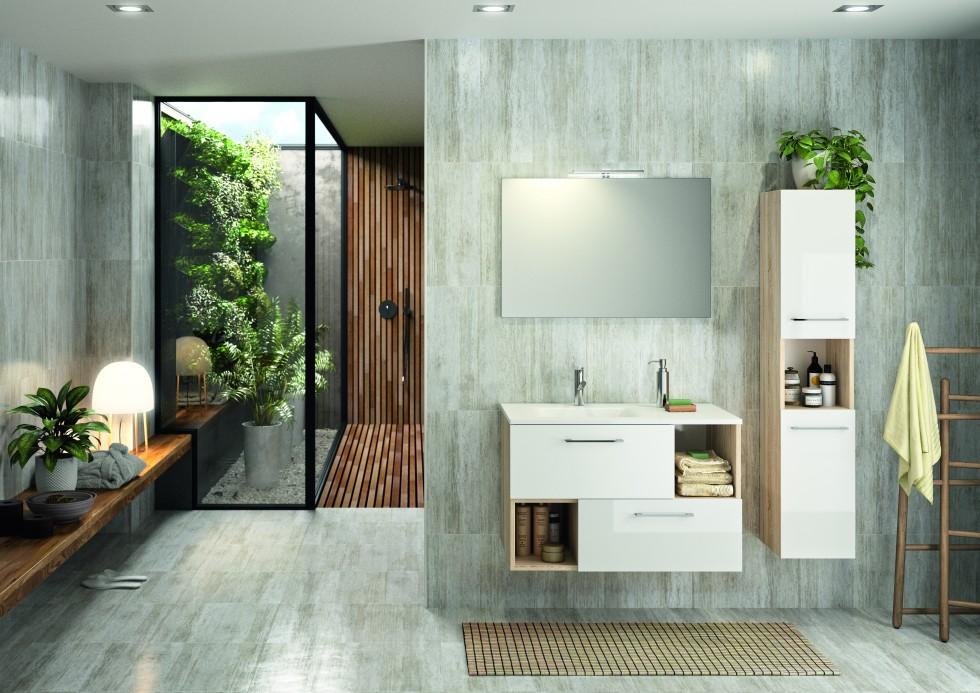 Ensemble de salle de bains Evoluti SCANDY L.90 cm blanc et chêne naturel