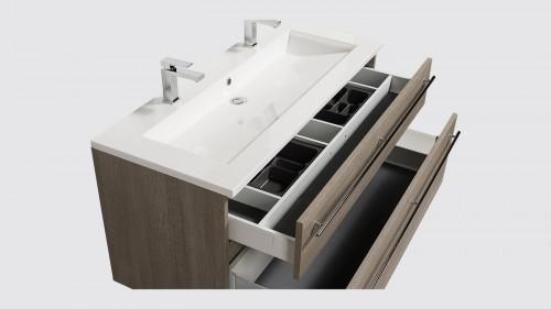 Ensemble de salle de bains Evoluti SENSY L.120 cm chêne clair grisé